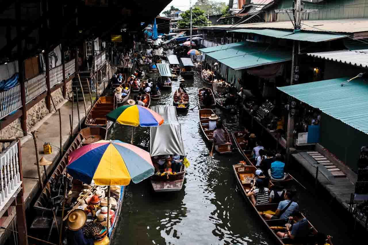 mercado flutuante em Bangkok Tailândia - passeio pelos mercados de bangkok