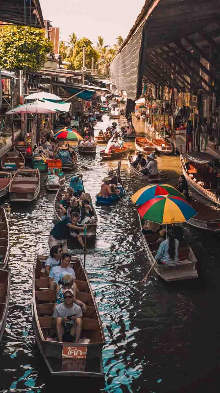 Passeio pelos mercados de bangkok - Damnoen Saduak, mercado flutuante de Bangkok